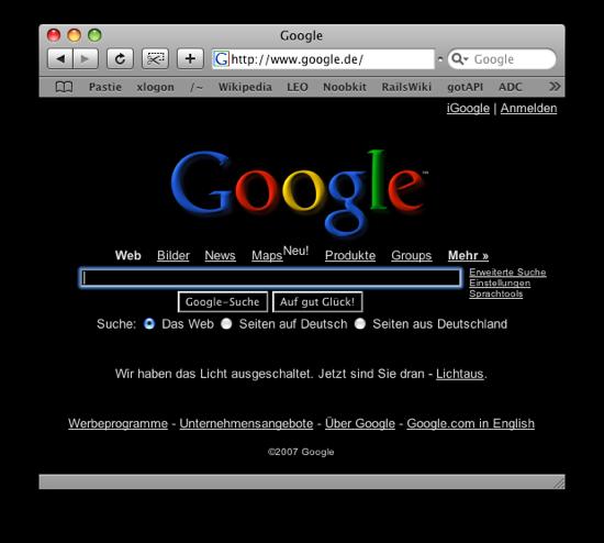 Google im Dunkeln